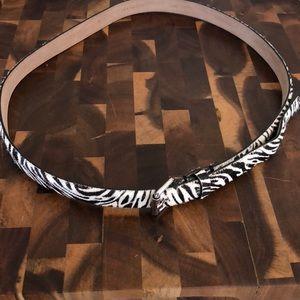 Ann Taylor Faux Fur Belt; Brown/Off-White Zebra